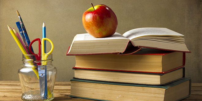 apple & book for teacher